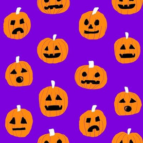pumpkin halloween cute fabric  jack-o'-lantern purple