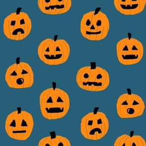 pumpkin halloween cute fabric  jack-o'-lantern blueish