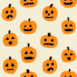 pumpkin halloween cute fabric  jack-o'-lantern neutral