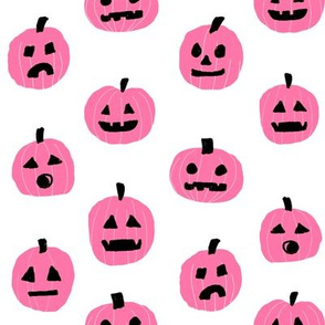pumpkin halloween cute fabric  jack-o'-lantern white pink
