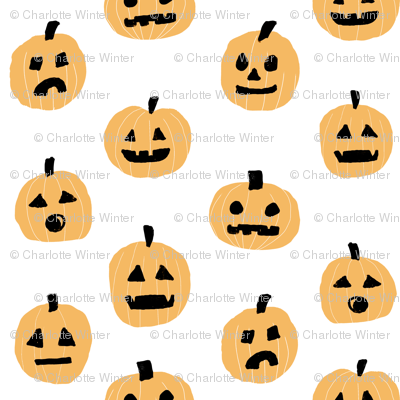 pumpkin halloween cute fabric  jack-o'-lantern white orange