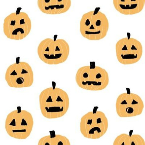 pumpkin halloween cute fabric  jack-o'-lantern white orange