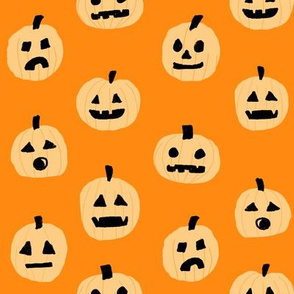pumpkin halloween cute fabric  jack-o'-lantern orange