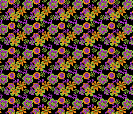 Vintage Halloween Flower Power multi fabric by fairytale_&_whimsy on Spoonflower - custom fabric