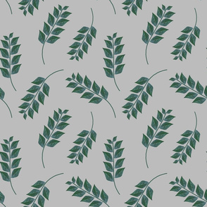 Branches on Light Gray Upholstery Fabric