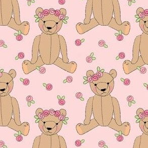 brown teddy bears and rosebuds on pink