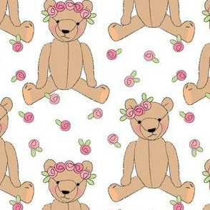 brown teddy bears and roses
