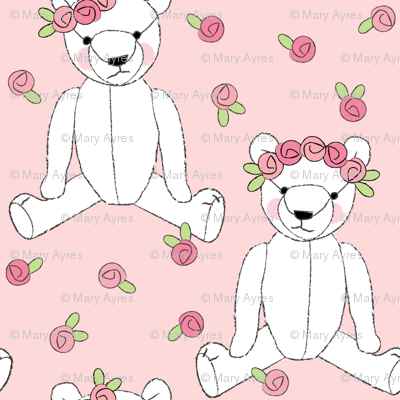 white teddy bears and roses on pink