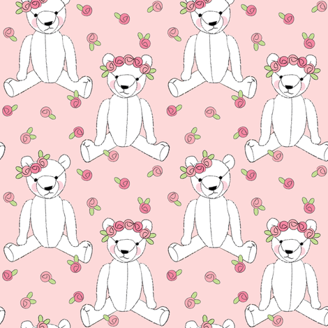 white teddy bears and roses on pink fabric by lilcubby on Spoonflower - custom fabric