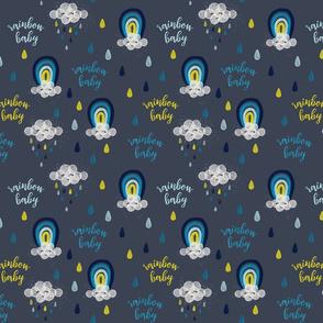 rainbow baby yellow + blue on blue gray // small