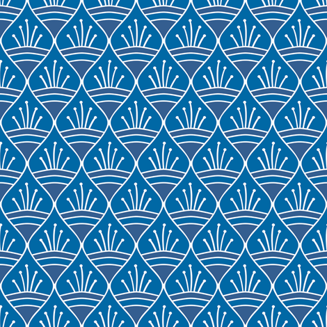 Talavera - Leaf Motif - White on Blue fabric by ameliae on Spoonflower - custom fabric