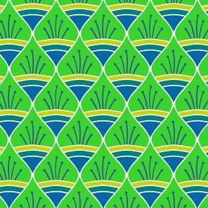 Talavera - Leaf Motif - Green and Blue