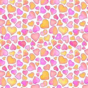 Watercolor Hearts in Pink and Yellow
