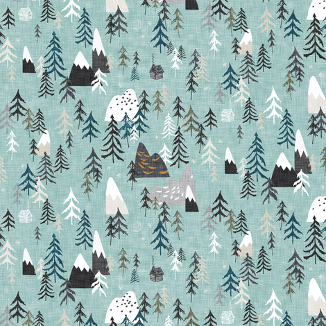 Forest Peaks (micro) sky blue fabric by nouveau_bohemian on Spoonflower - custom fabric