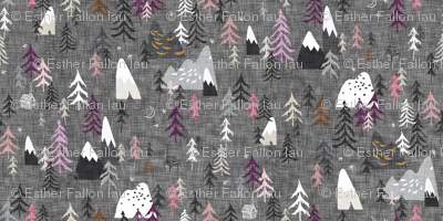 Forest Peaks (micro) (charcoal + plum)