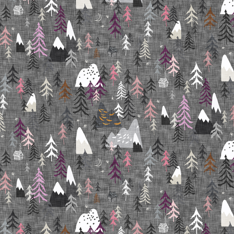 Forest Peaks (micro) (charcoal + plum) fabric by nouveau_bohemian on Spoonflower - custom fabric