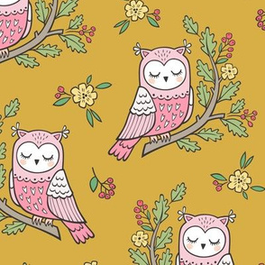 Dreamy Owl on a Branch with Flowers,Berries and Leaves on Mustard Yellow
