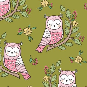 Dreamy Owl on a Branch with Flowers,Berries and Leaves on Olive Green