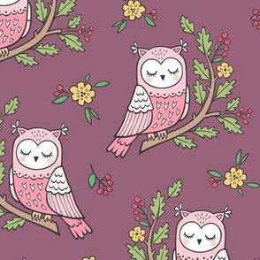Dreamy Owl on a Branch with Flowers,Berries and Leaves on Mauve