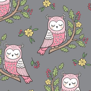Dreamy Owl on a Branch with Flowers,Berries and Leaves on Dark Grey