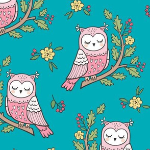 Dreamy Owl on a Branch with Flowers,Berries and Leaves on Blue