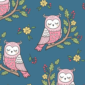 Dreamy Owl on a Branch with Flowers,Berries and Leaves on Blue Navy