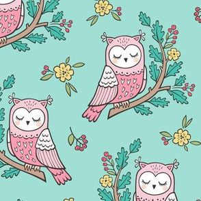 Dreamy Owl on a Branch with Flowers,Berries and Leaves on Mint Green