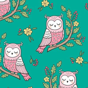Dreamy Owl on a Branch with Flowers,Berries and Leaves on Green