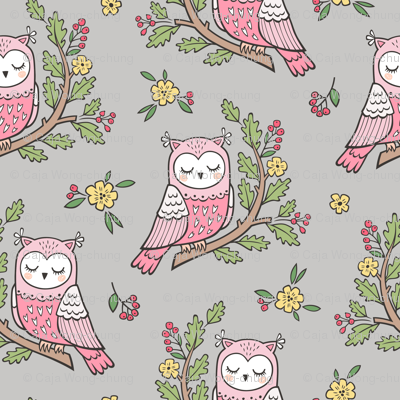 Dreamy Owl on a Branch with Flowers,Berries and Leaves on Light Grey