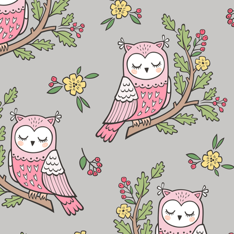 Dreamy Owl on a Branch with Flowers,Berries and Leaves on Light Grey fabric by caja_design on Spoonflower - custom fabric