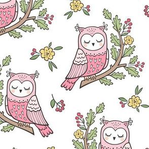 Dreamy Owl on a Branch with Flowers,Berries and Leaves on White