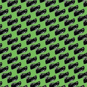 Black Blobs and Lines on Neon Green