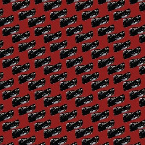 Black Blobs and Lines on Dark Red