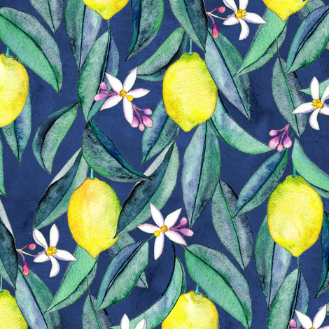 When Life Gives You Lemons - watercolor lemons on dark blue fabric by micklyn on Spoonflower - custom fabric