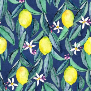 When Life Gives You Lemons - watercolor lemons on dark blue