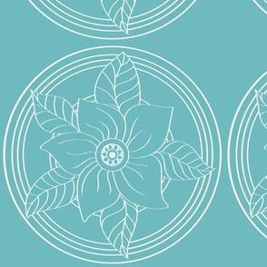 White_Bohemian_Flower_outline_on_Blue