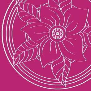 White_Bohemian_Flower_outline_on_Magenta
