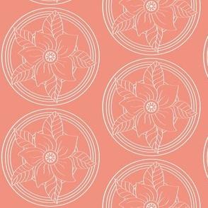 White_Bohemian_Flower_outline_on_Salmon