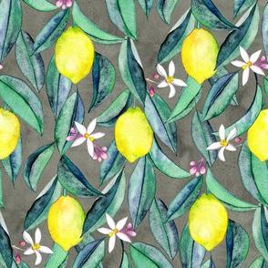 When Life Gives You Lemons - watercolor lemons on grey