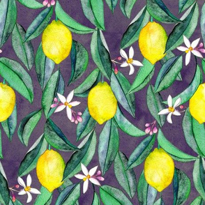 When Life Gives You Lemons - watercolor lemons on dark grey