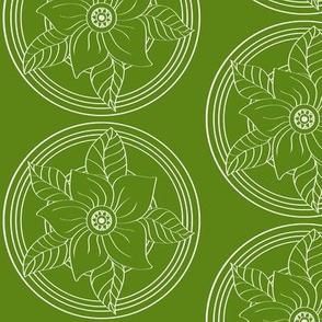 White_Bohemian_Flower_outline_on_Green