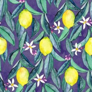 When Life Gives You Lemons - watercolor lemons on purple