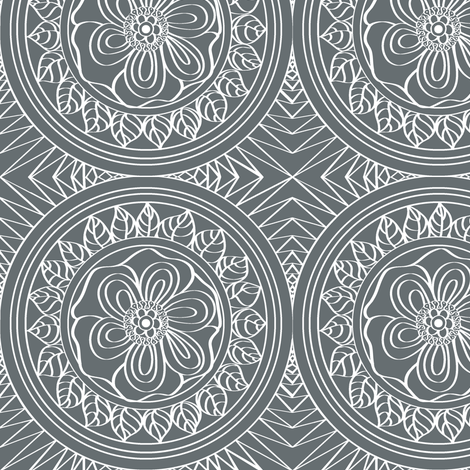 White_Bohemian_outline_on_Grey fabric by house_of_heasman on Spoonflower - custom fabric