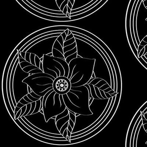 White_Bohemian_Flower_outline_on_Black