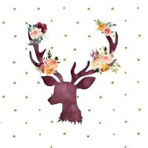 "8"" Autumn Wine Floral Deer // Gold Dots"
