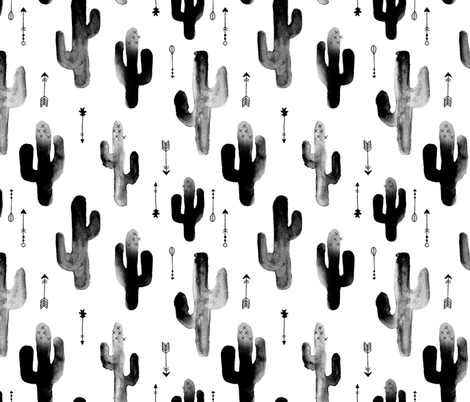 Black and white watercolors ink cactus garden gender neutral geometric arrows cowboy theme LARGE fabric by littlesmilemakers on Spoonflower - custom fabric