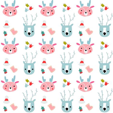cute reindeer holiday fabric by bruxamagica on Spoonflower - custom fabric