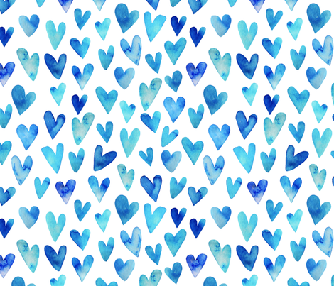 Blue Ombre Hearts fabric by hipkiddesigns on Spoonflower - custom fabric
