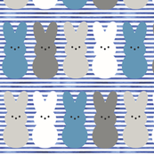 Peep Bunnies // Blue and Gray on Blue Stripes