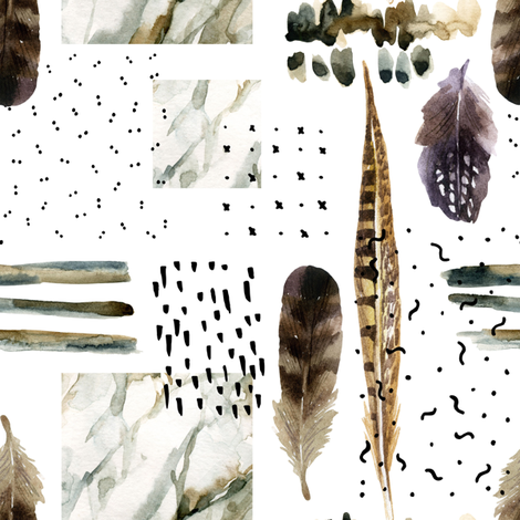 Abstract Feathers fabric by hipkiddesigns on Spoonflower - custom fabric